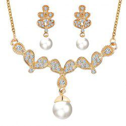 A Suit of Alloy Rhinestone Faux Pearl Pendant Necklace and Earrings -