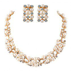 A Suit of Alloy Rhinestoned Faux Pearl Necklace and Earrings -