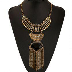 Ethnic Artificial Gem Chain Tassel Necklace - BLACK AND GOLDEN