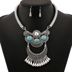 A Suit of Ethnic Artificial Gem Water Drop Necklace and Earrings -