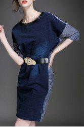 Stunning Round Neck 3/4 Sleeve Belted Dress For Women -