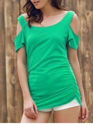 Stylish U Neck Short Sleeve Solid Color Cut Out T-Shirt For Women
