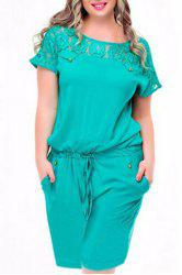 Plus Size Lace Up Short Sleeve Romper - AZURE