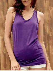 Trendy U-Neck Hollow Out Solid Color Women's Racerback Top