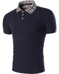 Color Block Plaid Spliced ​​Turn-down col Shorts Manches Polo T-shirt pour les hommes - Bleu Cadette