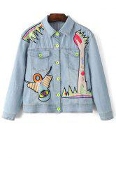 Stylish Shirt Collar Long Sleeve Denim Embroidery Jacket For Women - LIGHT BLUE
