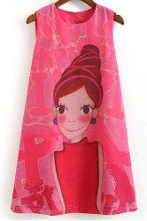 Cartoon Print Casual SleevelessDress