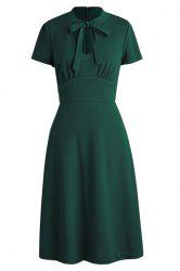 Bow Tie Neck Fit and Flare Dress - OLIVE GREEN