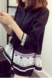 Ethnic Faux Pearl Trapeze Shirt