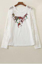 Stylish Round Collar Long Sleeve Lace Spliced Printed T-Shirt For Women -