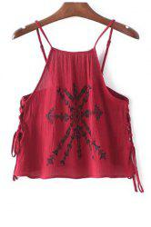Stylish Spaghetti Straps Lace-Up Embroidery Women's Tank Top