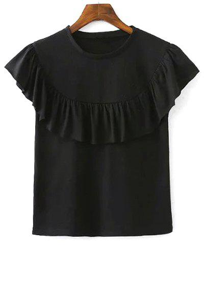 Discount Stylish Round Neck Short Sleeve Solid Color Flounce Ruffles Women's T-Shirt
