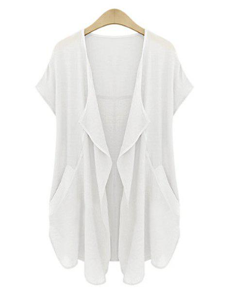 New Casual Turn-Down Neck Short Sleeve Pure Color Plus Size Women's Cardigan