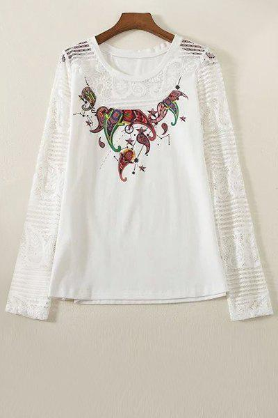 Best Stylish Round Collar Long Sleeve Lace Spliced Printed T-Shirt For Women