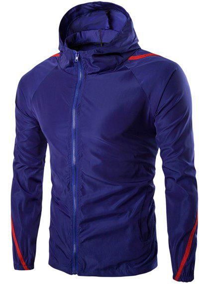 Hooded Color Block Spliced Long Sleeve Zip Up Mens JacketMEN<br><br>Size: XL; Color: SAPPHIRE BLUE; Material: Polyester; Shirt Length: Regular; Sleeve Length: Full; Style: Casual; Weight: 0.223kg; Package Contents: 1 x Jacket;
