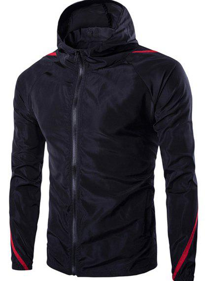 Hooded Color Block Spliced Long Sleeve Zip Up Mens JacketMEN<br><br>Size: M; Color: BLACK; Material: Polyester; Shirt Length: Regular; Sleeve Length: Full; Style: Casual; Weight: 0.223kg; Package Contents: 1 x Jacket;