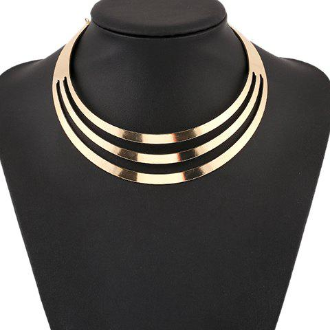 Punk Metallic Curved Mirror Mottle NecklaceJEWELRY<br><br>Color: GOLDEN; Gender: For Women; Style: Punk; Shape/Pattern: Solid; Weight: 0.070kg; Package Contents: 1 x Necklace;