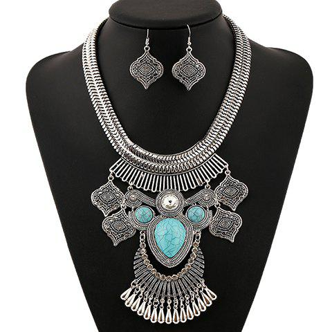 New A Suit of Retro Artificial Gem Rhinestone Water Drop Necklace and Earrings