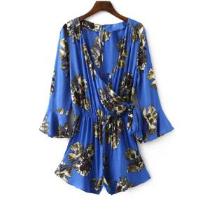 Tie Side Floral Romper with Sleeves - Sapphire Blue - S