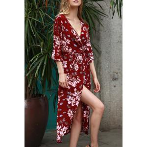 Plunging Neck 3/4 Sleeve Floral Print Women's Dress