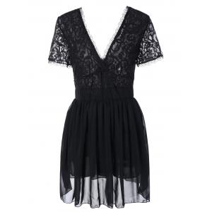 Plunging Lace Spliced Party Skater Club Dress