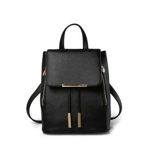 Preppy Cover and Solid Color Design Satchel For Women - Black - 41