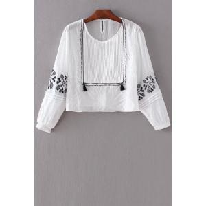 Pintuck Embroidered Top