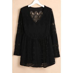 Stylish V-Neck Bell Sleeve Women's Lace Dress - Black - M