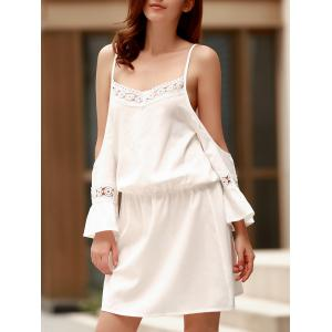 Spaghetti Strap Lace Panel Casual Dress With Sleeves