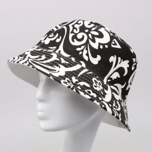 Chic White Handpainted Arabesque Pattern Flat Top Bucket Hat For Women -