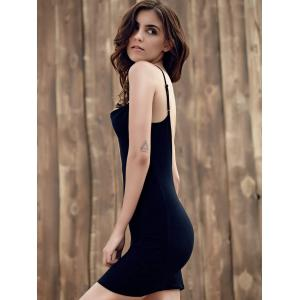 Mini Low Back Slip Club Dress - BLACK S