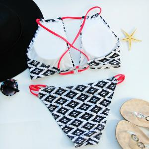 Tile Print Cut Out Bikini Set - WHITE AND BLACK M