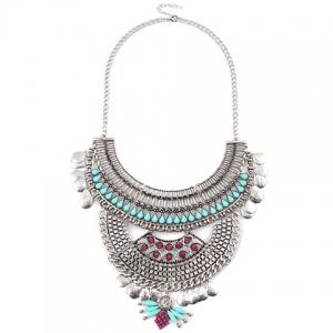 Chic Artificial Gem Water Drop Carving Necklace For Women -
