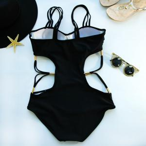 Strappy Hollow Out Swimsuits - BLACK S