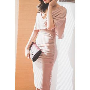 Stylish Plunging Neck Ruched Bodycon Cape Dress For Women -