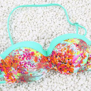 Vintage Halter Hollow Out Flower Print Bikini Set For Women -