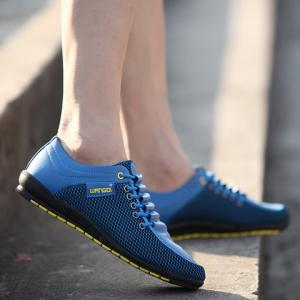 Fashionable Splicing and Colour Block Design Casual Shoes For Men - BLUE 43