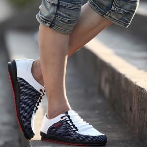 Fashionable Splicing and Colour Block Design Casual Shoes For Men - WHITE 43