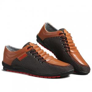 Fashionable Splicing and Colour Block Design Casual Shoes For Men - BROWN 44