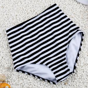 Simple Halter Striped Design High-Waisted Bikini Set For Women - BLACK L