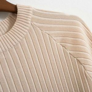 Chic Round Neck Half Sleeve Solid Color Women's Knitwear -