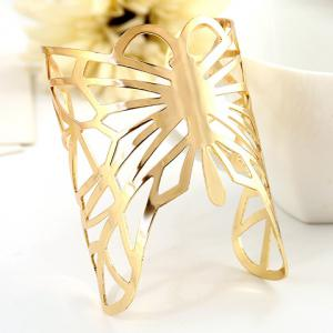 Chic Butterfly Hollow Out Cuff Bracelet For Women - GOLDEN