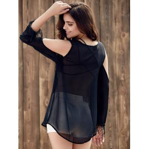 Trendy Scoop Collar Long Sleeve See-Through Fringed Cold Shoulder Blouse For Women -