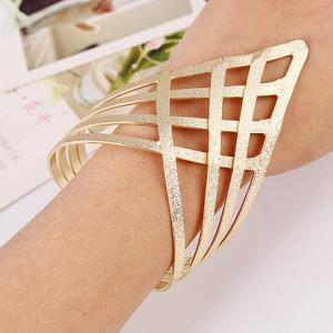 Frosted Grid Hollow Out Gold Plated Cuff Bracelet