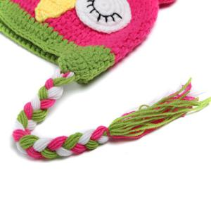 Sweet Owl Shape Handmade Crochet Knitted Beanie Hat and Shorts Set Baby Clothes - ROSE
