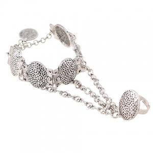 Coin Carving Oval Charm Bracelet with Ring -