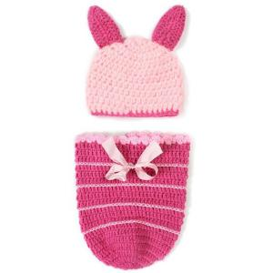 Fashion Handmade Crochet Knitted Rabbit Shape Hat Sleeping Bag Set Baby Clothes - Pink - 110*160cm