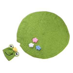 High Quality Handmade Crochet Knit Cap Green Frog Hat+Lotus Leaf Blanket Baby Costume Set - Green - S