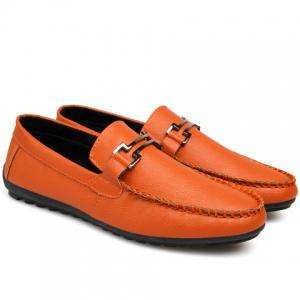 Leisure Metal and Solid Color Design Loafers For Men -
