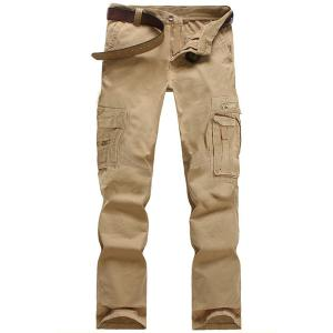 Casual Solid Color Multi-Pocket Straight Zipper Fly Straight Leg Cargo Pants For Men